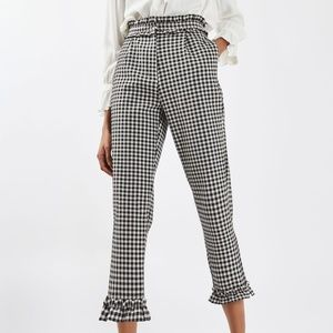 NWT Topshop gingham ruffle trousers